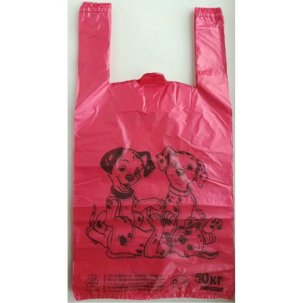 Пакет майка долматин, красный (50шт)