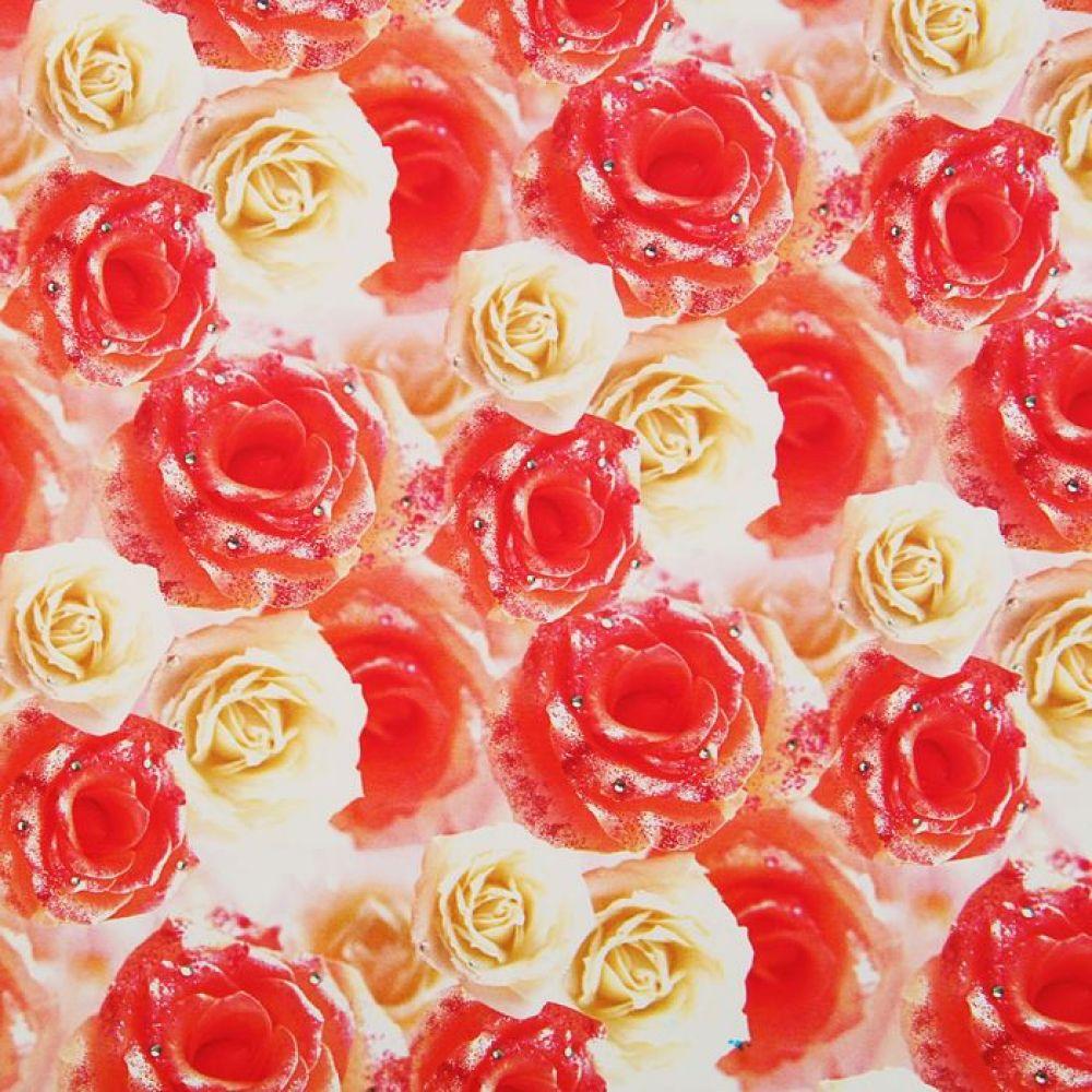Бумага упаковочная Белые и чайные розы