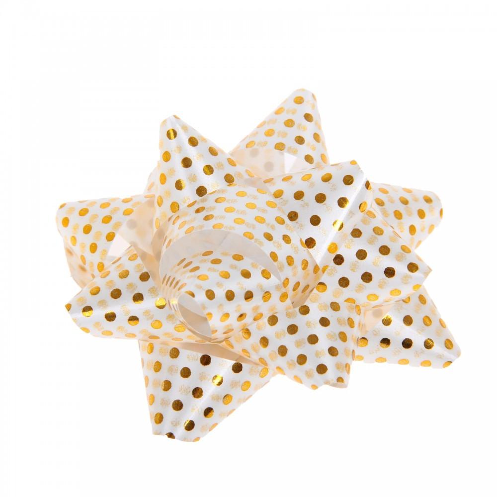 Бант звезда №5 золотой горошек, цвет белый