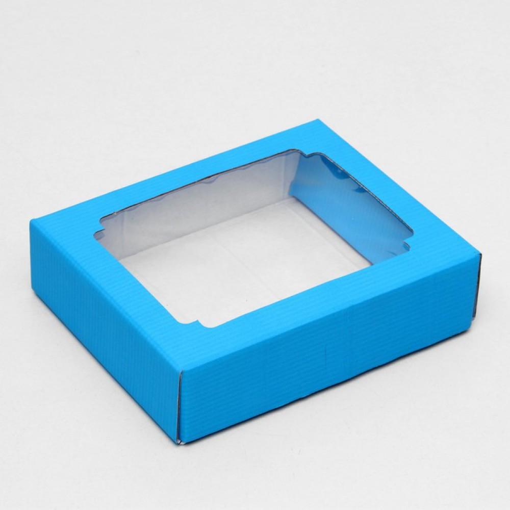 Коробка сборная без печати крышка-дно, с окном, голубая