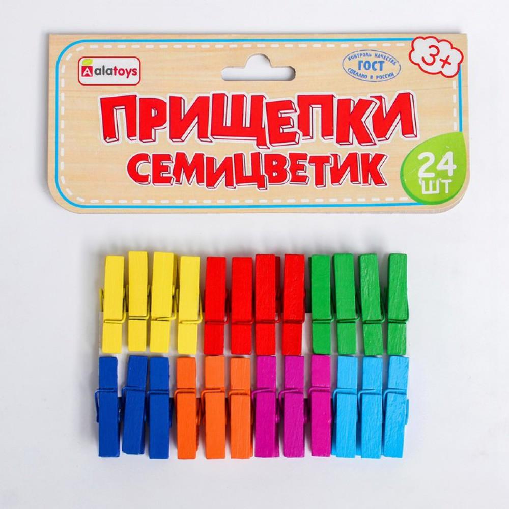 Прищепки «Семицветик» 24 шт., 16×13×1 см