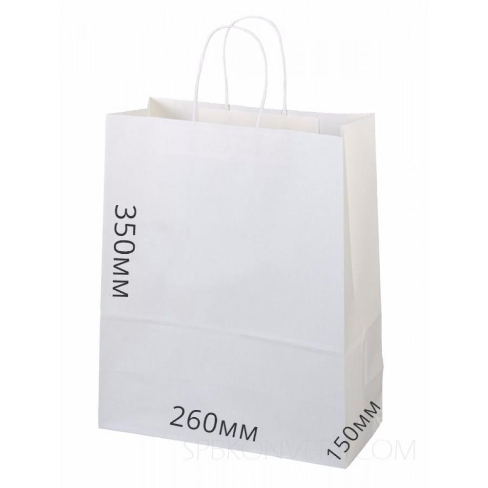 Сумка бумажная 350*260*150, белый,круч.руч (10шт)
