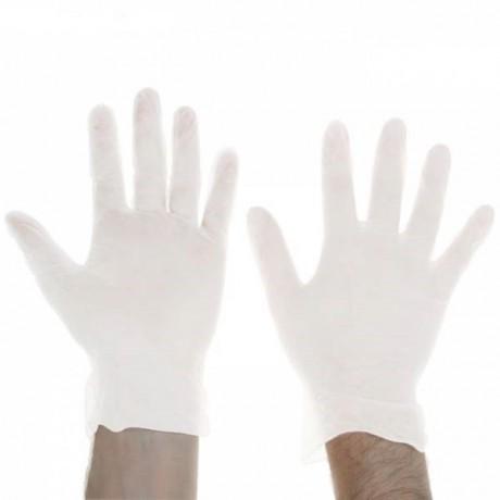 Перчатки латексные гладкие с пудрой М 100шт, цвет белый