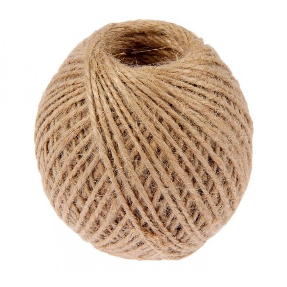 Шпагат джутовый 100м d=1.5мм Шнурком скрученный, цвет натуральный