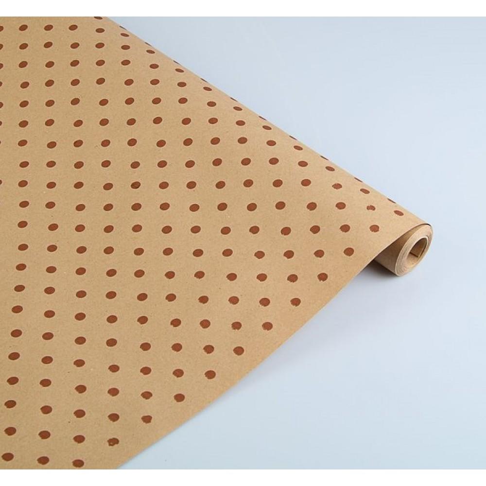 Бумага упаковочная крафт Горох коричневый на коричневом 91,18 7*8,5м