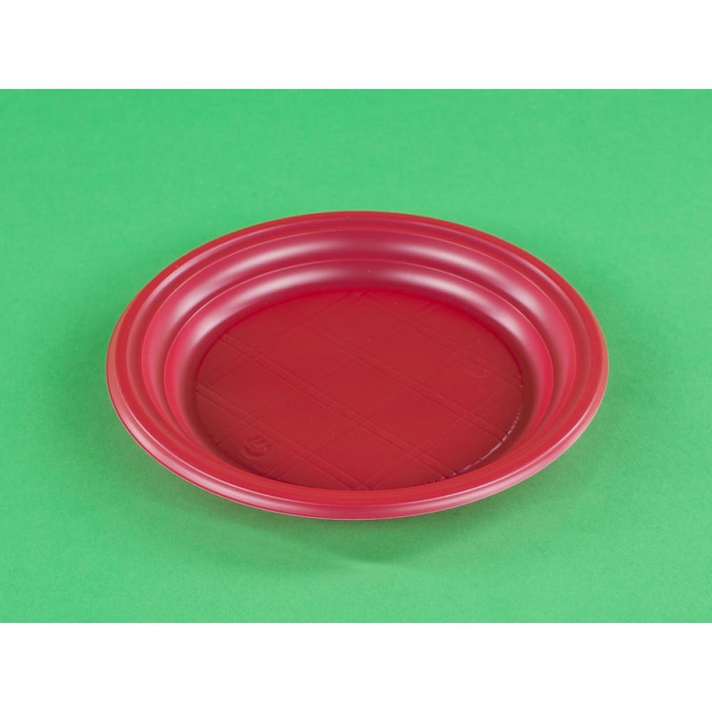 Тарелка десертная d-200мм ПП красная (50шт)
