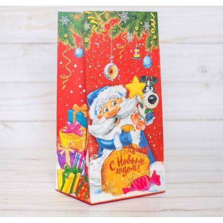 Пакет подарочный без ручек Веселого Нового года! 10*19,5*7см