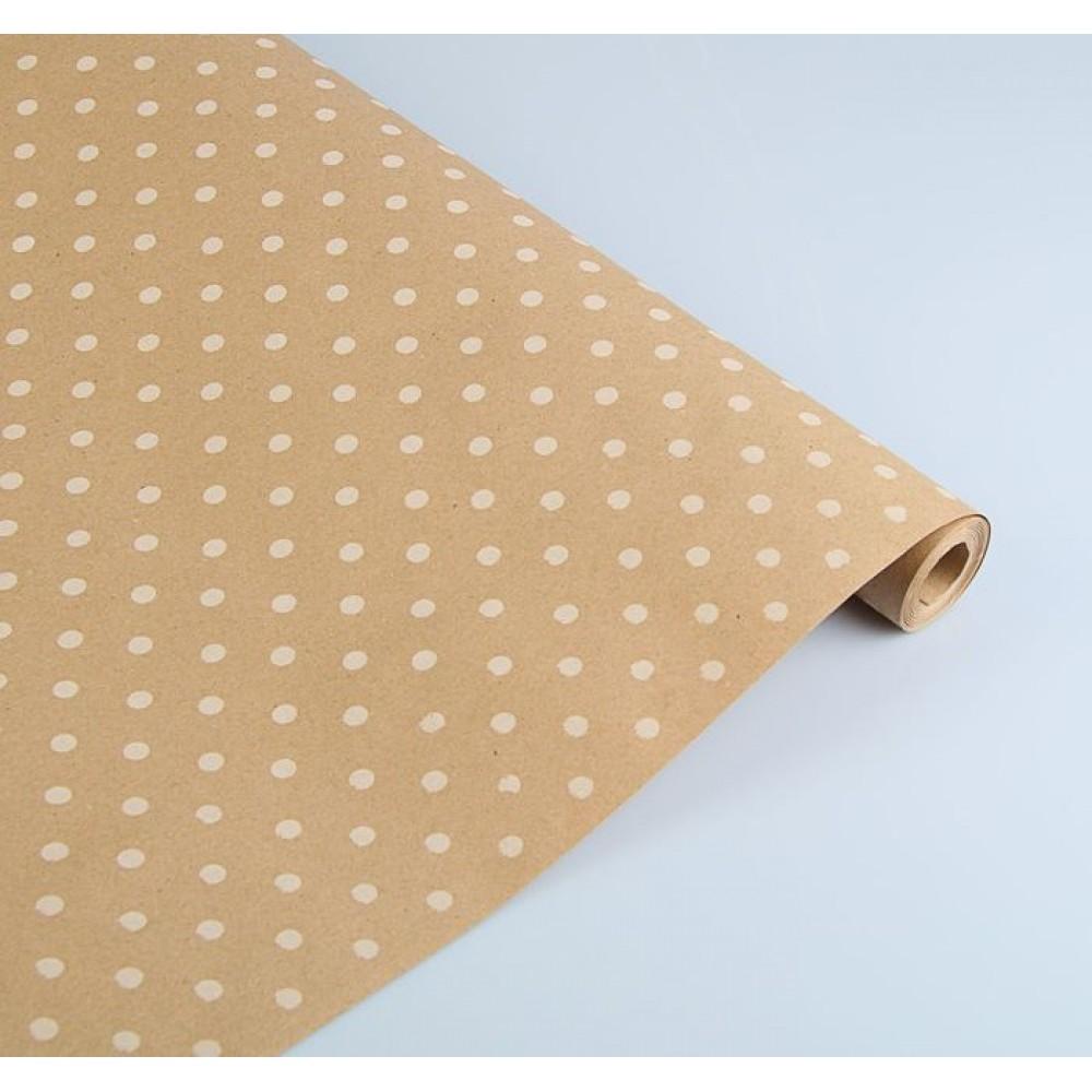 Бумага упаковочная крафт Горох белый на коричневом 70см*8,5м