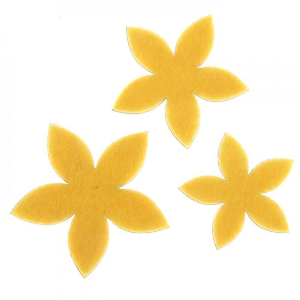 Набор декоративных элементов из фетра на клеевой основе Цветы №1 3шт