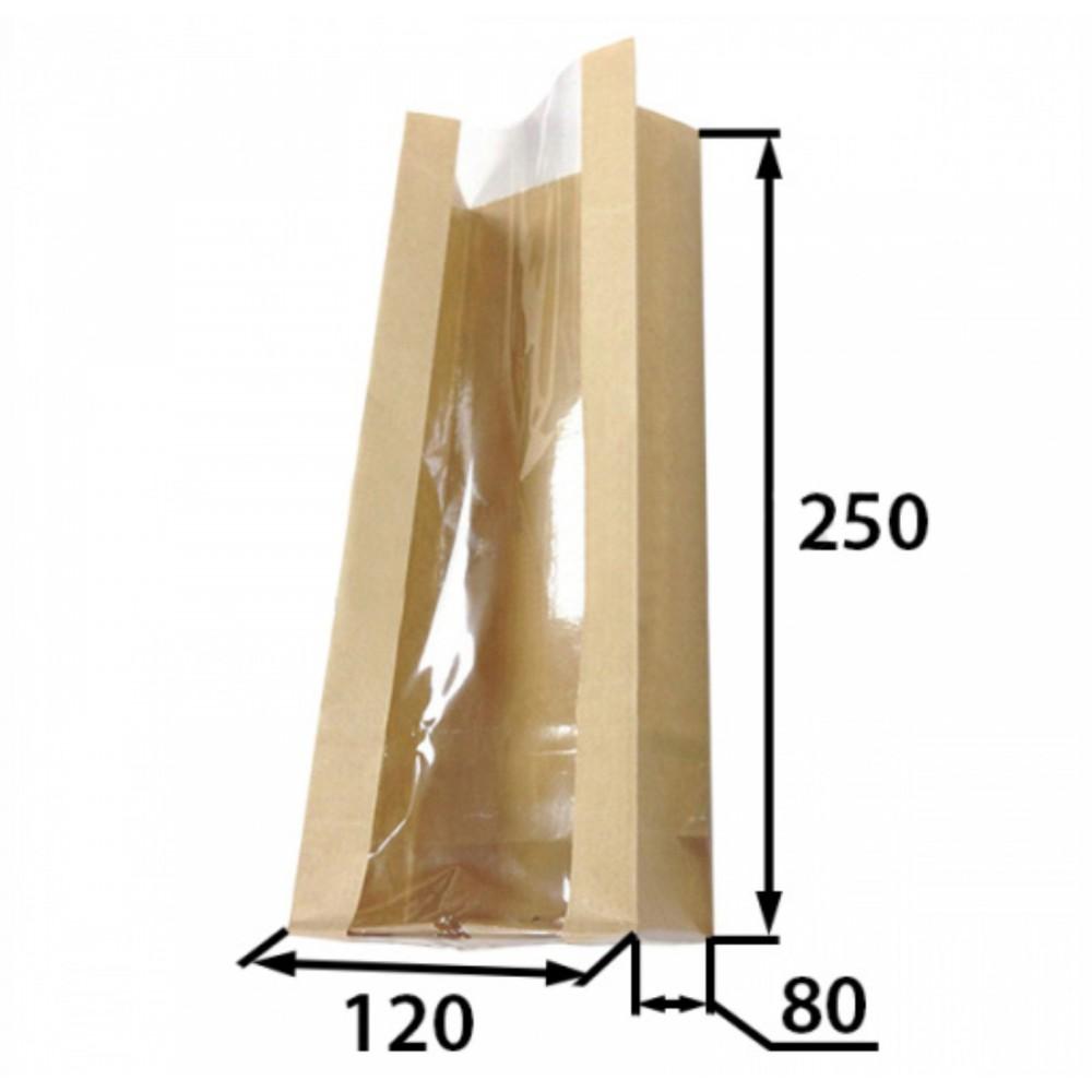 Пакет бумажный 250*120*80 продольное окно (25шт)