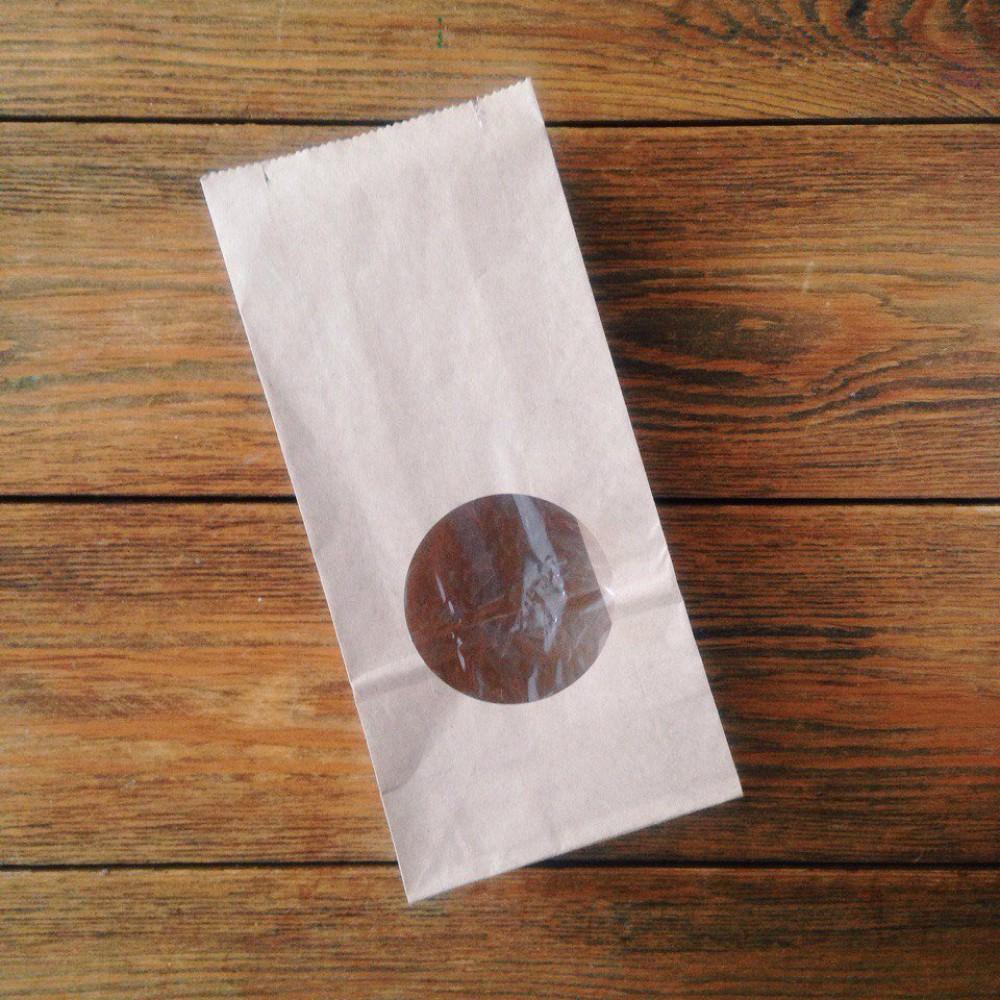Пакет бумажный 250*120*80 с окном белый (25шт)