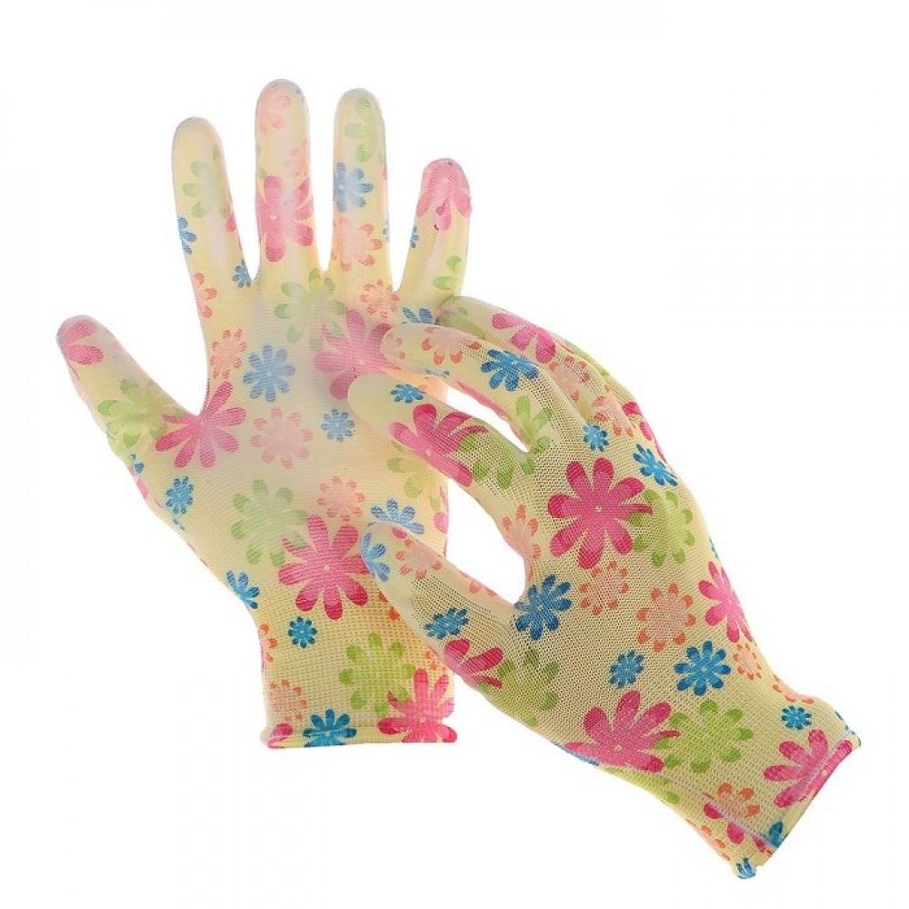 Перчатки нейлоновые с латексной пропиткой размер 8