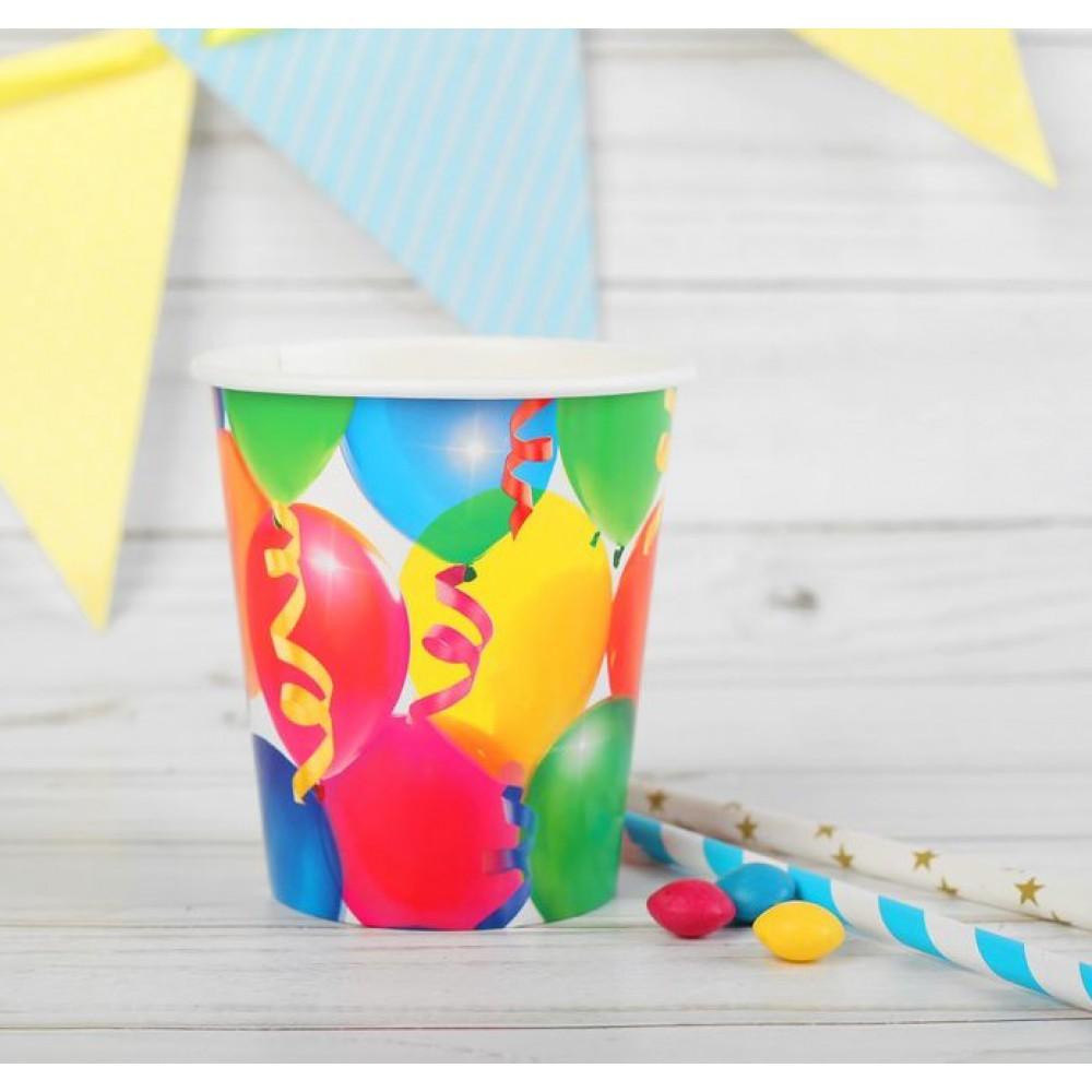 Набор бумажных стаканов Праздник воздушные шары и серпантин (10шт)