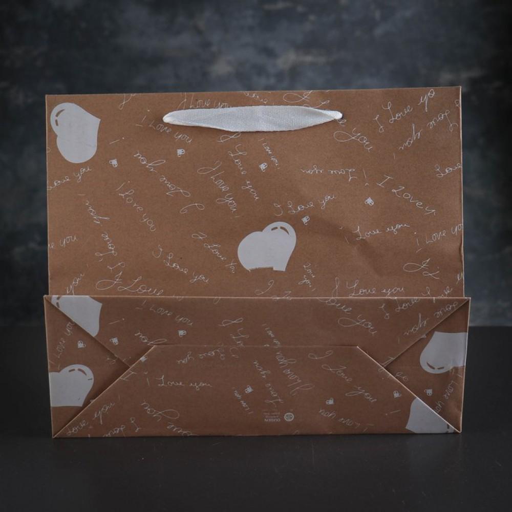 """Пакет крафт """"Белые сердца"""", 31 х 12 х 26 см"""