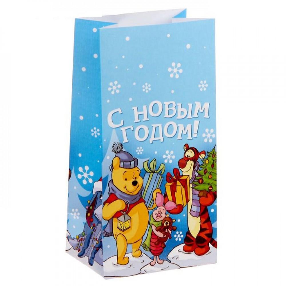 Пакет подарочный без ручек С новым счастьем, медвежонок Винни и его друзья 10*19,5*7см