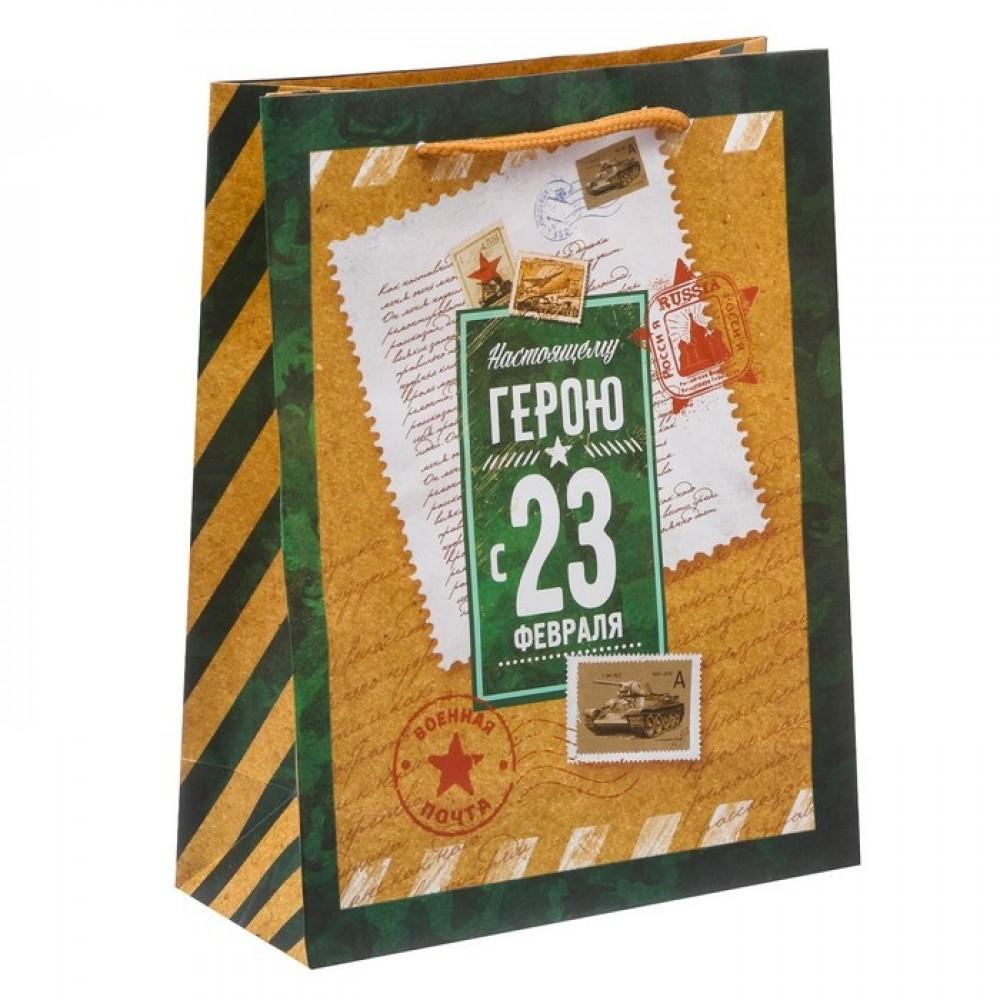 Пакет ламинированный вертикальный Почетному герою 18*23*8см
