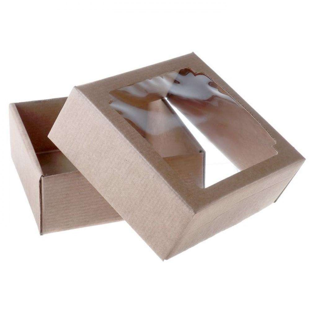 Коробка сборная без печати крышка-дно бурая с окном 14,5*14,5*6см
