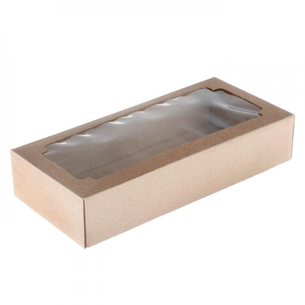 Коробка сборная без печати крышка-дно крафт с окном 24*11*4,5см