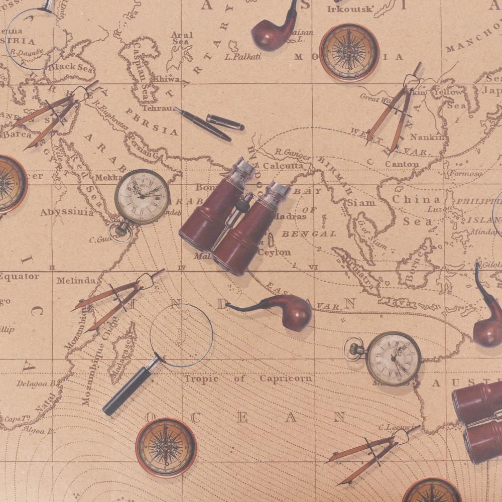 Бумага упаковочная крафт «Карта странствий», 50 × 70 см
