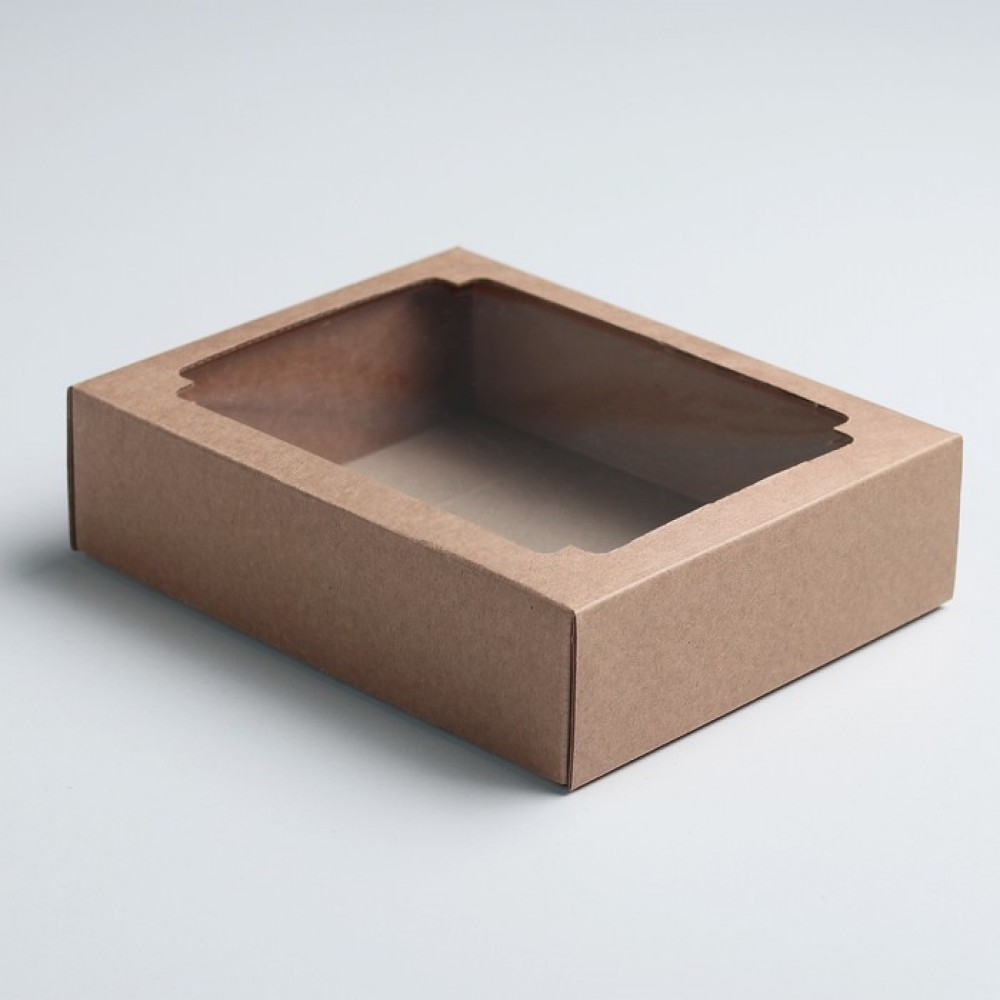 Коробка сборная без печати крышка-дно бурая с окном 18*15*5см