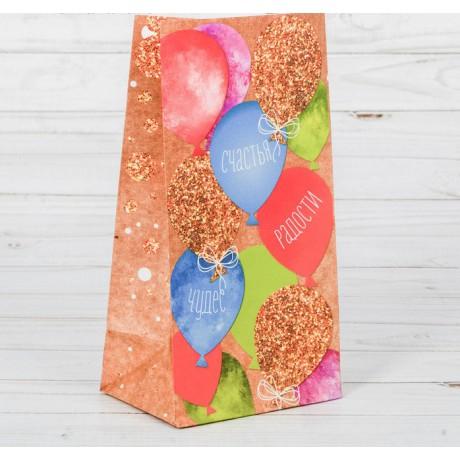 Пакет подарочный без ручек Счастья Радости Чудес 10*19,3*7см