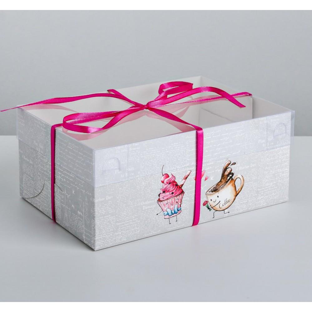 Коробка для капкейка Любовь 23*16*10см