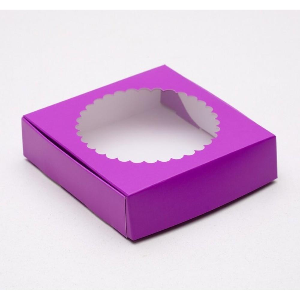 Подарочная коробка с прозрачной крышкой фиолетовая 11,5*11,5*3см