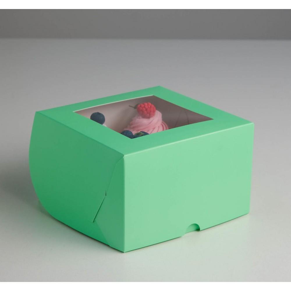Упаковка для капкейков с окном на 4 шт зеленая 16*16*10см