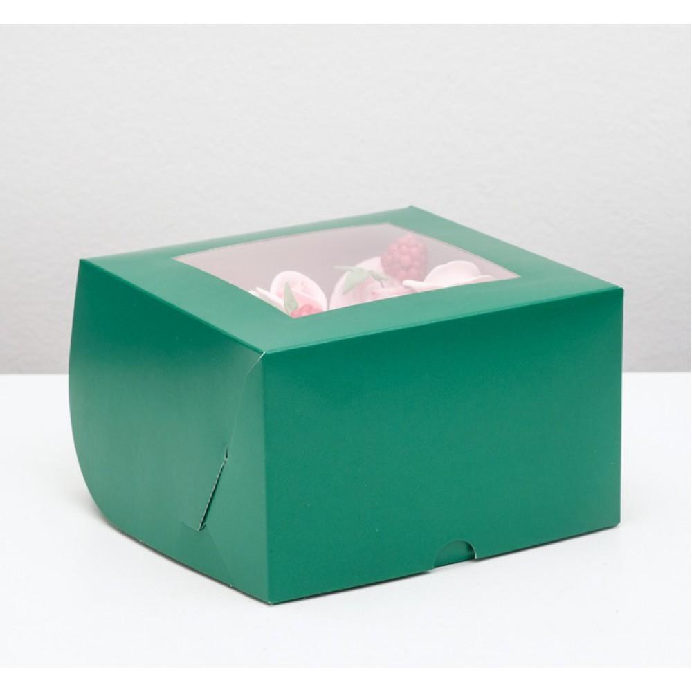 Упаковка для капкейков с окном на 4 шт изумрудная 16*16*10см