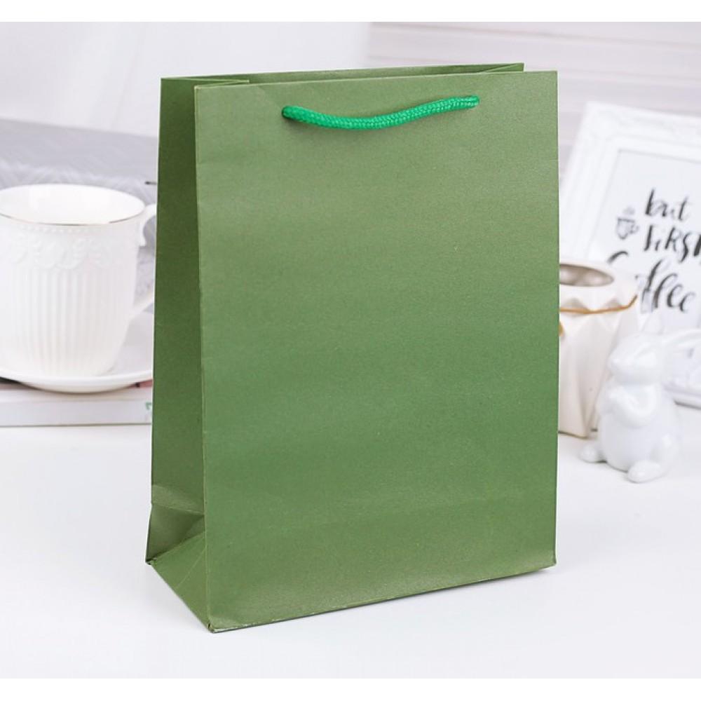 Пакет крафт зеленый 24*33*8,5см