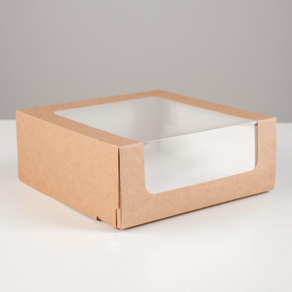 Кондитерская упаковка с окном крафт, 23,5*23,5*11,5