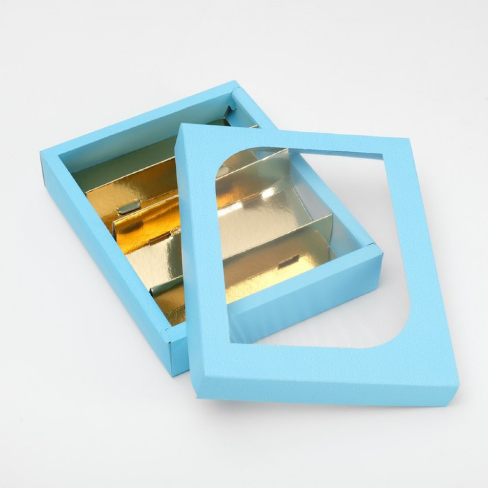 Кондитерская упаковка под зефир голубая 25*20*4,5см