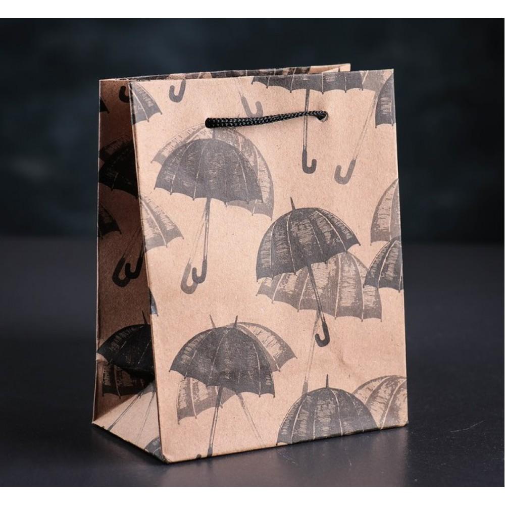 Пакет крафт Зонтики 11*14*5см
