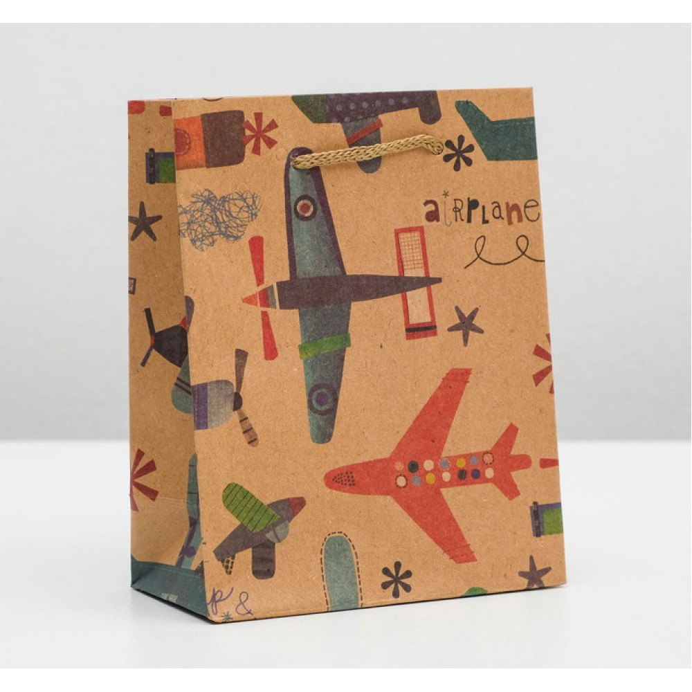 Пакет крафт Аэроплан 11*14*5см