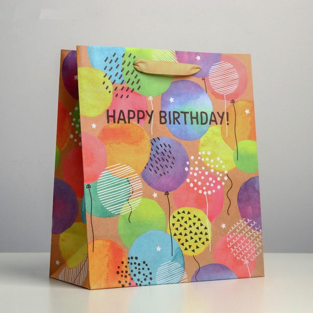 """Пакет крафт """"Happy birthday"""". 23*27*11,5см."""