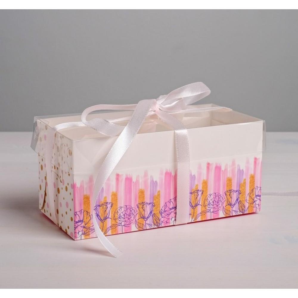 Коробка для капкейка Flower Patterns 16*8*7,5см